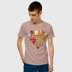 Футболка хлопковая мужская LOVE RUSSIA цвета пыльно-розовый — фото 2