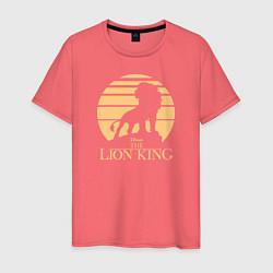 Мужская хлопковая футболка с принтом The Lion King, цвет: коралловый, артикул: 10266107100001 — фото 1