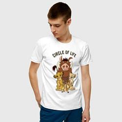 Мужская хлопковая футболка с принтом Круг жизни, цвет: белый, артикул: 10266206300001 — фото 2