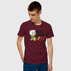 Футболка хлопковая мужская Need More Sleep цвета меланж-бордовый — фото 2