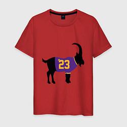 Мужская хлопковая футболка с принтом LeBron James - GOAT, цвет: красный, артикул: 10274334300001 — фото 1