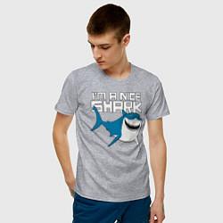Футболка хлопковая мужская Im A Nice Shark цвета меланж — фото 2