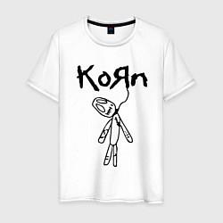 Футболка хлопковая мужская Korn цвета белый — фото 1