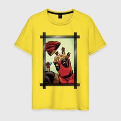 Футболка хлопковая мужская Мозг Дэдпула цвета желтый — фото 1