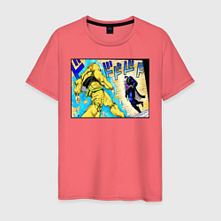 Футболка хлопковая мужская Дио идет на забив цвета коралловый — фото 1