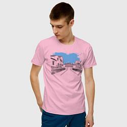 Футболка хлопковая мужская Азиатская улица цвета светло-розовый — фото 2