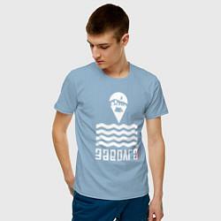 Футболка хлопковая мужская Заволга цвета мягкое небо — фото 2