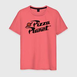 Футболка хлопковая мужская Pizza Planet цвета коралловый — фото 1