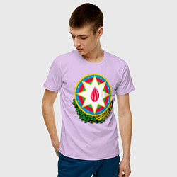 Футболка хлопковая мужская Азербайджан цвета лаванда — фото 2