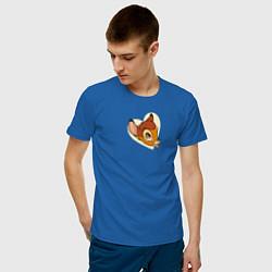 Футболка хлопковая мужская Бэмби цвета синий — фото 2