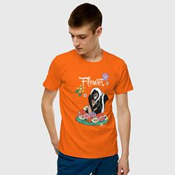Футболка хлопковая мужская Flower цвета оранжевый — фото 2