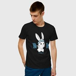 Мужская хлопковая футболка с принтом Физкульт - привет!, цвет: черный, артикул: 10277753700001 — фото 2