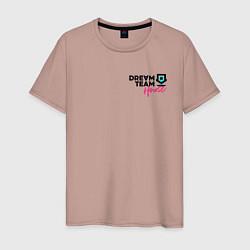 Футболка хлопковая мужская Dream Team logo цвета пыльно-розовый — фото 1