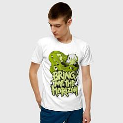 Мужская хлопковая футболка с принтом Bring Me the Horizon, цвет: белый, артикул: 10027946100001 — фото 2