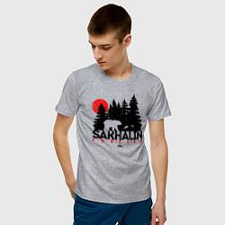 Футболка хлопковая мужская Sakhalin forever цвета меланж — фото 2