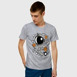 Футболка хлопковая мужская Космонавт Баскетболист цвета меланж — фото 2