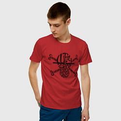 Футболка хлопковая мужская ЧЕРЕП АНИМЕ ВАН ПИС цвета красный — фото 2