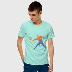 Футболка хлопковая мужская Tennis player - man цвета мятный — фото 2