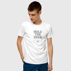 Футболка хлопковая мужская Hold the door GoT цвета белый — фото 2