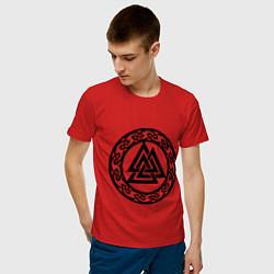 Футболка хлопковая мужская Валькнут - символ Одина цвета красный — фото 2