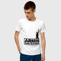 Мужская хлопковая футболка с принтом Armin van buuren, цвет: белый, артикул: 10036476600001 — фото 2