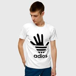 Футболка хлопковая мужская Adios цвета белый — фото 2