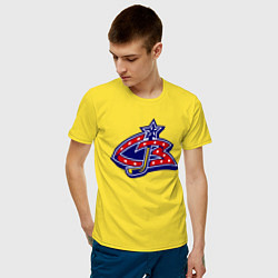Мужская хлопковая футболка с принтом HC Columbus Blue Jackets, цвет: желтый, артикул: 10043950200001 — фото 2
