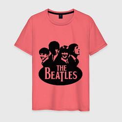 Футболка хлопковая мужская The Beatles Band цвета коралловый — фото 1