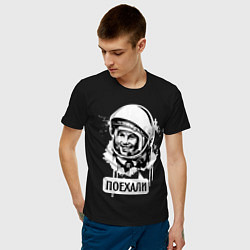 Футболка хлопковая мужская Гагарин: поехали цвета черный — фото 2