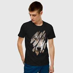 Футболка хлопковая мужская Волк - моё второе Я цвета черный — фото 2