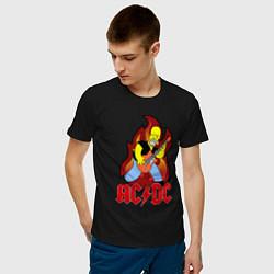 Мужская хлопковая футболка с принтом AC/DC Homer, цвет: черный, артикул: 10058696900001 — фото 2