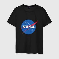 Футболка хлопковая мужская NASA: Logo цвета черный — фото 1