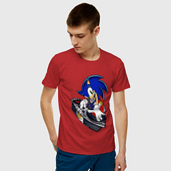 Футболка хлопковая мужская Sonic цвета красный — фото 2