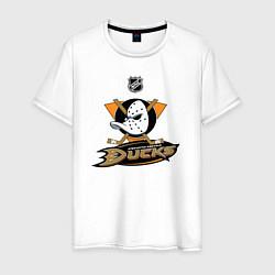 Футболка хлопковая мужская NHL: Anaheim Ducks цвета белый — фото 1