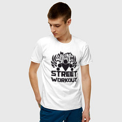 Футболка хлопковая мужская Street workout цвета белый — фото 2