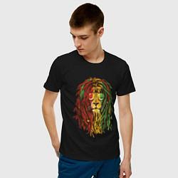Футболка хлопковая мужская Rasta Lion цвета черный — фото 2
