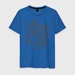 Футболка хлопковая мужская 0017 цвета синий — фото 1