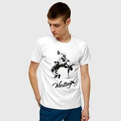 Футболка хлопковая мужская Wrestling цвета белый — фото 2