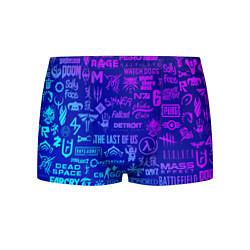 Мужские 3D-трусы боксеры с принтом Неоновые геймерские лого, цвет: 3D, артикул: 10173728503997 — фото 1
