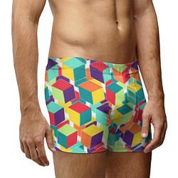 Трусы-боксеры мужские 3D кубы цвета 3D — фото 2