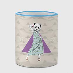 Кружка 3D Panda Girl: yes yes? цвета 3D-небесно-голубой кант — фото 2