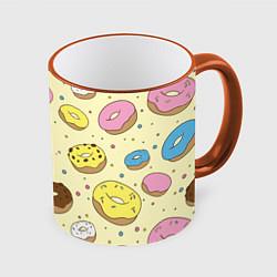 Кружка 3D Сладкие пончики цвета 3D-оранжевый кант — фото 1