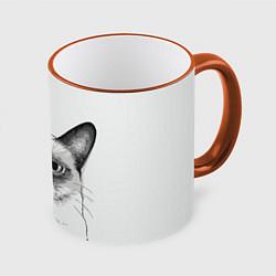 Кружка 3D David Bowie: Grumpy cat цвета 3D-оранжевый кант — фото 1