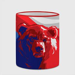Кружка 3D Российский медведь цвета 3D-красный кант — фото 2