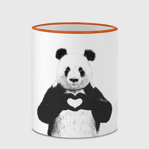 Кружка цветная Panda Love / 3D-Оранжевый кант – фото 2