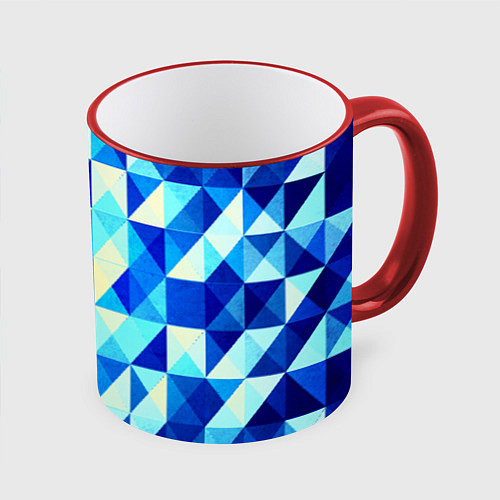 Кружка цветная Синяя геометрия / 3D-Красный кант – фото 1