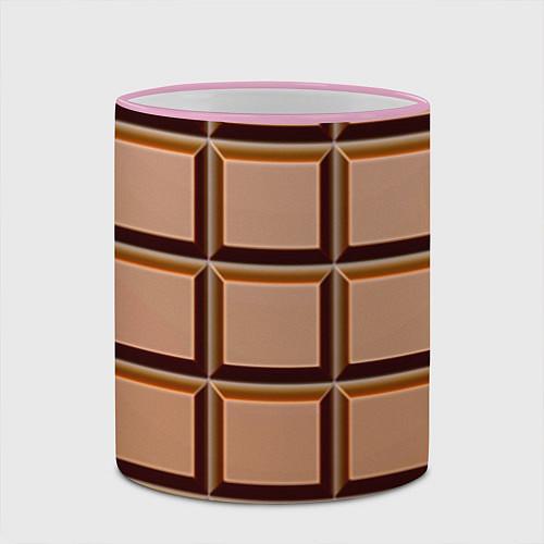 Кружка цветная Шоколад / 3D-Розовый кант – фото 2