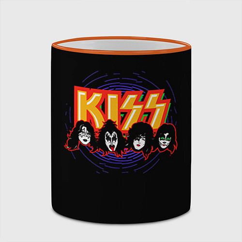 Кружка цветная KISS: Death Faces / 3D-Оранжевый кант – фото 2