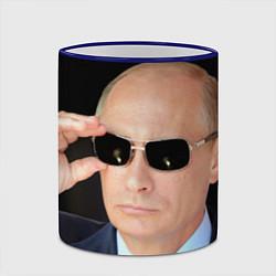 Кружка 3D Путин в очках цвета 3D-синий кант — фото 2