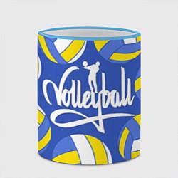 Кружка 3D Волейбол 6 цвета 3D-небесно-голубой кант — фото 2